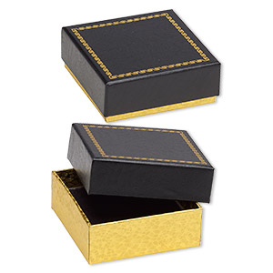 box, paper and velvet, black and gold, 3 x 3 x 1-1/8 inch square. sold per pkg of 6.