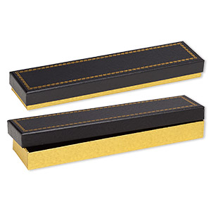 box, paper and velvet, black and gold, 8-1/8 x 1-7/8 x 7/8 inch rectangle. sold per pkg of 6.