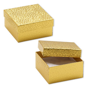 box, paper, cotton-filled, gold, 3-3/4 x 3-3/4 x 2-inch square. sold per pkg of 10.