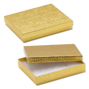 box, paper, cotton-filled, gold, 6-1/8 x 5-1/8 x 1-1/8 inch rectangle. sold per pkg of 100.