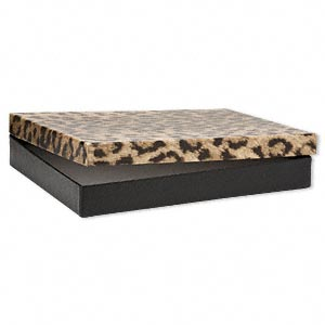 box, paper, cotton-filled, leopard print, 7 x 5 x 7/8 inches. sold per pkg of 100.