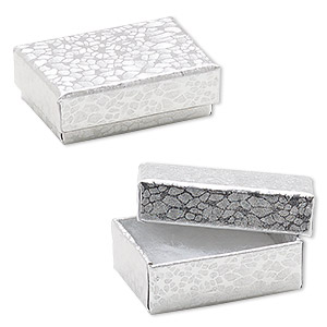 box, paper, cotton-filled, silver, 1-7/8 x 1-1/4 x 5/8 inch rectangle. sold per pkg of 10.