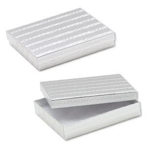 box, paper, cotton-filled, silver, 6-1/8 x 5-1/8 x 1-1/8 inch rectangle. sold per pkg of 10.