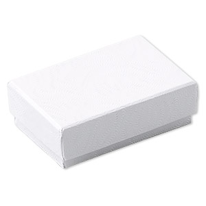 box, paper, cotton-filled, white, 1-7/8 x 1-1/4 x 5/8 inch textured rectangle. sold per pkg of 10.