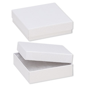 box, paper, cotton-filled, white, 3-1/2 x 3-1/2 x 1-inch textured square. sold per pkg of 10.