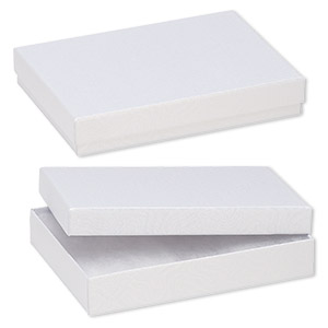 box, paper, cotton-filled, white, 5-1/4 x 3-3/4 x 1-inch rectangle. sold per pkg of 100.