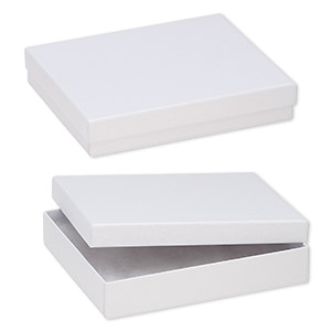 box, paper, cotton-filled, white, 6-1/8 x 5-1/8 x 1-1/8 inch textured rectangle. sold per pkg of 100.