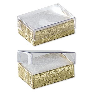 box, plastic and paper, cotton-filled, gold and clear, 1-7/8 x 1-1/4 x 5/8 inches. sold per pkg of 10.
