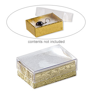 box, plastic and paper, cotton-filled, gold and clear, 1-7/8 x 1-1/4 x 5/8 inch rectangle. sold per pkg of 100.