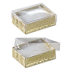 box, plastic and paper, cotton-filled, gold and clear, 2-1/8 x 1-5/8 x 3/4 inches. sold per pkg of 10.