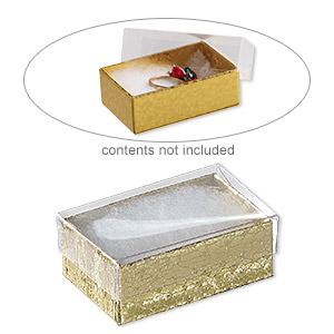 box, plastic and paper, cotton-filled, gold and clear, 2-5/8 x 1-1/2 x 1-inch rectangle. sold per pkg of 10.