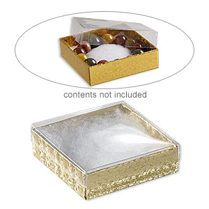 box, plastic and paper, cotton-filled, gold and clear, 3-1/2 x 3-1/2 x 1-inch square. sold per pkg of 10.