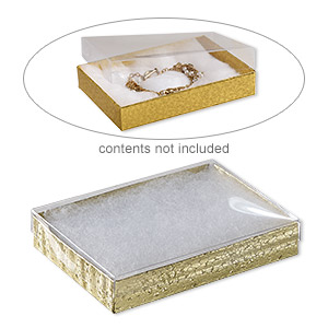 box, plastic and paper, cotton-filled, gold and clear, 5-3/8 x 3-7/8 x 1-inch rectangle. sold per pkg of 10.