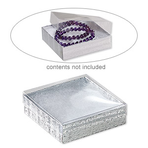 box, plastic and paper, cotton-filled, silver and clear, 3-1/2 x 3-1/2 x 1-inch square. sold per pkg of 100.