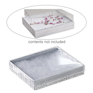 box, plastic and paper, cotton-filled, silver and clear, 6-1/8 x 5-1/8 x 1-1/8 inch rectangle. sold per pkg of 10.
