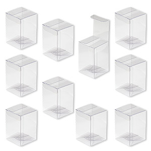 box, plastic, clear, 2 x 2 x 3-inch rectangle with peel-off protective film. sold per pkg of 10.