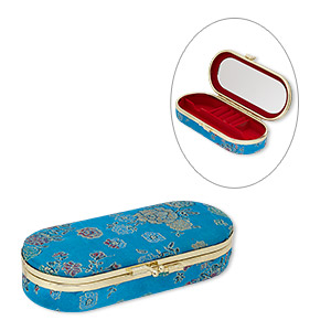 box, polyester / velveteen / gold-finished steel, teal blue / red / multicolored, 5-3/4 x 2-1/4 x 1-1/4 inch hinged oval with floral design and mirror. sold individually.