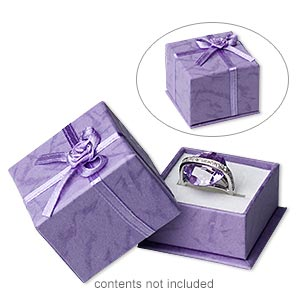 box, ring, cardboard / paper / satin / velveteen, lavender and white, 1-3/4 x 1-3/4 x 1-1/4 inch square. sold per pkg of 24.