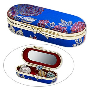 box, satin brocade / velveteen / glass / gold-finished steel, royal blue and multicolored, 4-1/2 x 2-1/2 inch oval with 3-1/4 x 1-inch mirror and floral design. sold individually.