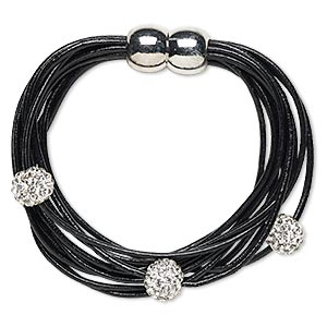 bracelet, 10-strand, leather (dyed) / glass rhinestone / silver-finished pewter (zinc-based alloy), black and clear, 10mm round, 6-1/2 inches with magnetic clasp. sold individually.