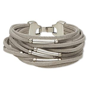 bracelet, 16-strand, suede (dyed) and antique silver-plated pewter (zinc-based alloy), grey, 19mm wide with 5mm round and 20x4mm round tube, 7 inches with hook-and-eye clasp. sold individually.