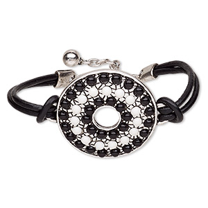 bracelet, 2-strand, leather (dyed) / resin / antique silver-plated steel / pewter (zinc-based alloy), black and white, 43mm round donut, 6-1/2 inches with 2-inch extender chain and lobster claw clasp. sold individually.