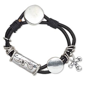 bracelet, 2-strand, leather (dyed) / waxed cotton cord / antique silver-plated pewter (zinc-based alloy), black, 15mm wide with 27.5x12mm oval tube and snake design, 5-1/2 inches with button clasp. sold individually.