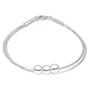 bracelet, 2-strand, sterling silver, 1mm square snake with 6mm ball, 7-1/2 inches with lobster claw clasp. sold individually.