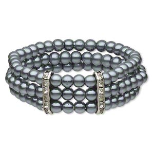 bracelet, 3-strand stretch, acrylic pearl / glass rhinestone / silver-plated pewter (zinc-based alloy), grey and clear, 6mm round, 6-1/2 inches. sold individually.