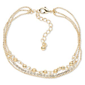 bracelet, 3-strand, swarovski crystals and gold-finished brass, crystal clear, 8mm wide, 8 inches with lobster claw clasp and 2-inch extender chain. sold individually.