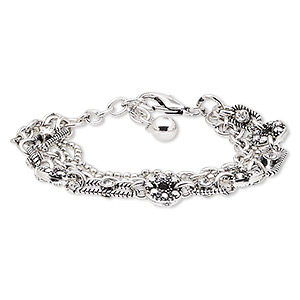 bracelet, 4-strand, glass rhinestone / silver-plated steel / antique silver-plated brass / pewter (zinc-based alloy), clear, 16mm wide with round, 6-1/2 inches with 1-3/4 inch extender chain and lobster claw clasp. sold individually.