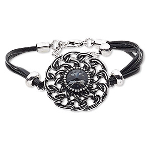 bracelet, 4-strand, leather (dyed) / glass / silver-coated plastic / silver- / antique silver-plated steel / pewter (zinc-based alloy), black and grey, 38mm round, 8 inches with 2-inch extender chain and lobster claw clasp. sold individually.