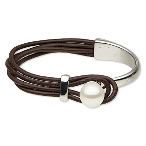 bracelet, 4-strand, leather (dyed) / plastic / rhodium-plated pewter (zinc-based alloy), dark brown and white, 7mm wide, 6-1/2 inches with 13mm round button clasp. sold individually.