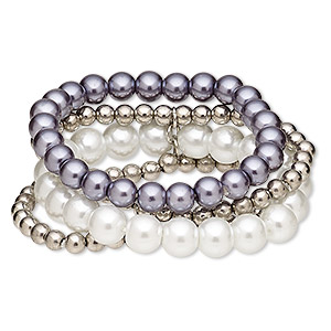 bracelet, 4-strand stretch, acrylic pearl and acrylic, white / blue-grey / pewter, 29mm wide, 6-1/2 inches. sold individually.