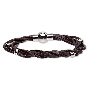 bracelet, 5-strand, leather (dyed) and stainless steel, black, 8mm wide twisted with 5mm round, 6-1/2 inches with magnetic clasp. sold individually.