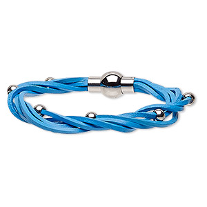 bracelet, 5-strand, leather (dyed) and stainless steel, blue, 8mm wide twisted with 5mm round, 6-1/2 inches with magnetic clasp. sold individually.