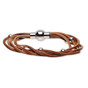 bracelet, 5-strand, leather (dyed) and stainless steel, natural, 8mm wide twisted with 5mm round, 6-1/2 inches with magnetic clasp. sold individually.