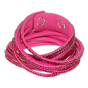 bracelet, 6-strand wrap, acrylic rhinestone / faux suede / imitation rhodium-plated brass, hot pink and magenta, 19mm wide, adjustable at 6 and 6-1/2 inches with snap closure. sold individually.
