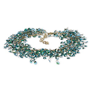 bracelet, acrylic sequin with gold-finished brass and steel, metallic blue and green, 20mm wide with 4mm round, 7-1/2 inches with 1-1/2 inch extender chain and lobster claw clasp. sold individually.