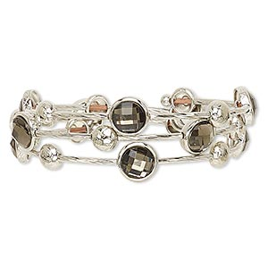 bracelet, acrylic with imitation rhodium-plated steel memory wire and pewter (zinc-based alloy), smoked topaz, 25mm wide with round, adjustable from 7-1/2 to 8-1/2 inches. sold individually.