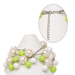 bracelet, acrylic with silver-finished steel and brass, lime green / champagne / white, 39mm wide with round, 7 inches with 2-inch extender chain and lobster claw clasp. sold individually.