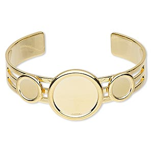 bracelet, almost instant jewelry, cuff, gold-plated brass and pewter (zinc-based alloy), 25mm wide with (2) 10mm and (1) 20mm round settings, adjustable. sold individually.