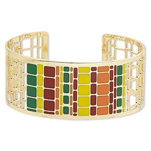 bracelet, avant-garde jewelry collection™, cuff, enamel and gold-plated brass, multicolored, 30mm wide with cutout and geometric design, adjustable from 7-8 inches. sold individually.