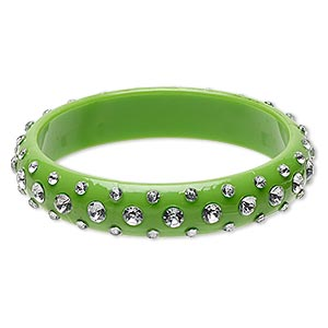 bracelet, bangle, acrylic, clear and opaque green, 15mm wide, 8 inches. sold individually.