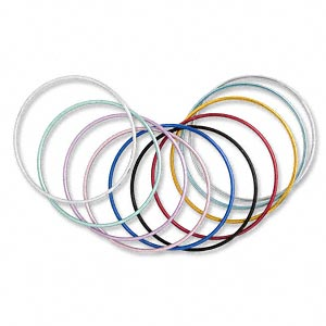 bracelet, bangle, aluminum, assorted colors, 2mm wide, 7-1/2 inches. sold per pkg of 10.