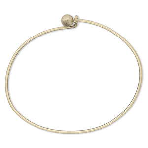 bracelet, bangle, antique gold-plated brass, 1.5mm wide oval with 5.5mm twist-off bead end, 7 inches. sold per pkg of 10.