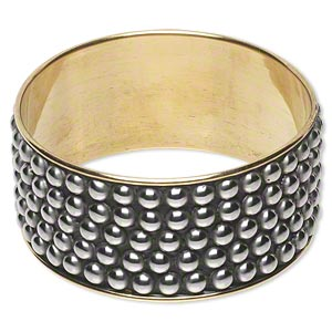 bracelet, bangle, brass / steel / clay, black, 34mm wide with stud pattern, 2-1/2 inch inside diameter. sold individually.