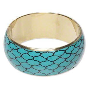 bracelet, bangle, brass / steel / resin, turquoise blue and black net design, 31mm wide, 2-1/2 inch inside diameter. sold individually.