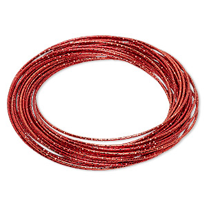 bracelet, bangle, enameled steel, red, (26-30) 1mm wide interlocking textured bands, 8 inches. sold individually.