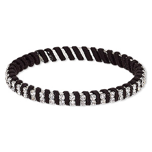 bracelet, bangle, glass rhinestone / leatherette / silver-plated steel, black and clear, 7mm wide with cupchain, 8 inches. sold individually.
